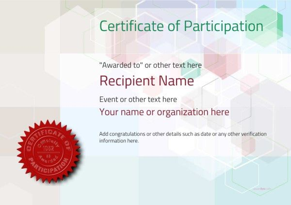 Participation Certificate Templates - Free, Printable, Add badges ...