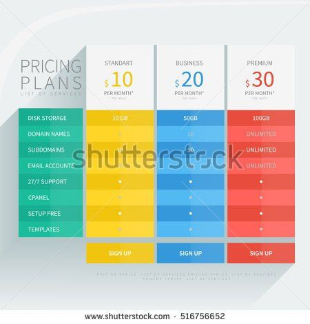 Pricing Comparison Table Set Commercial Business Stock Vector ...