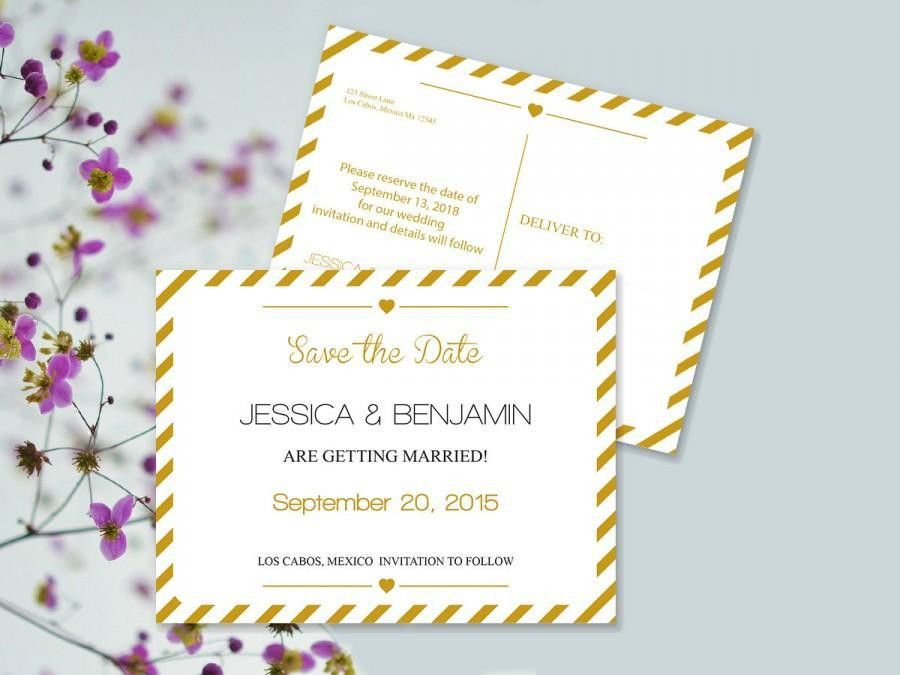Save The Date Postcard Templates - Gold Carnival Stripes Printable ...