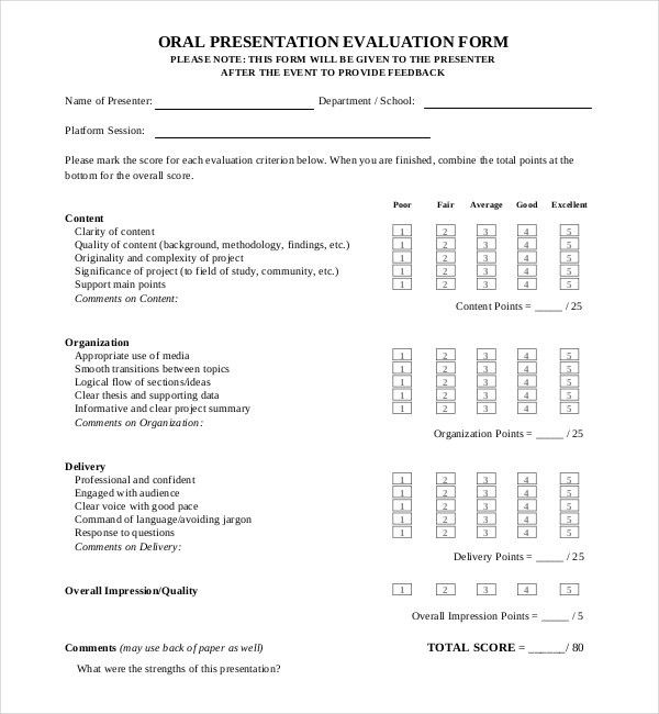 13+ Sample Presentation Evaluation Forms | Sample Forms
