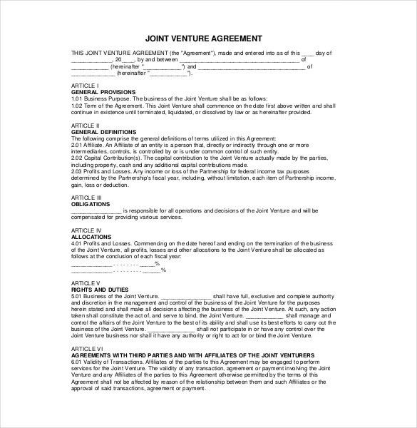 10+ Joint Venture Agreement Templates – Free Sample, Example ...