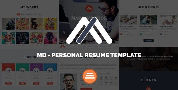 MD - Responsive Personal Resume & Portfolio Template by metrothemes