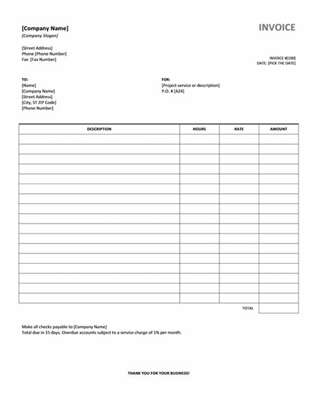 Services invoice with hours and rate - Office Templates