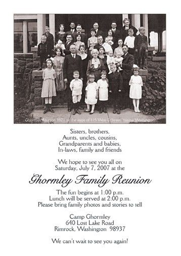 Family Reunion Invitation, Style fr-s1d