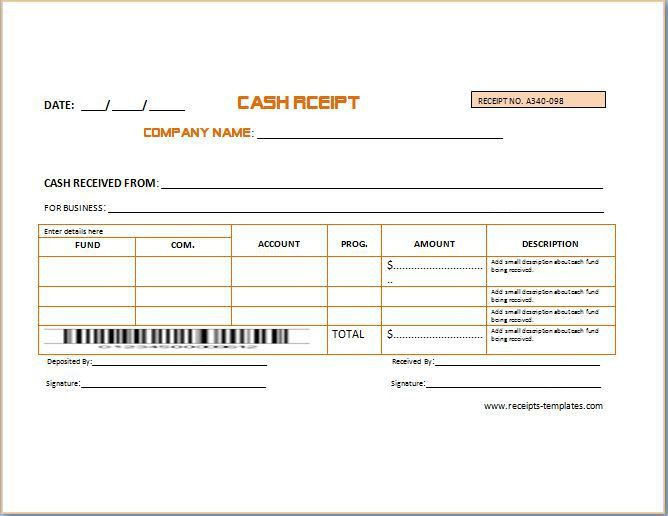 Business Cash Receipt Template | Formal Word Templates
