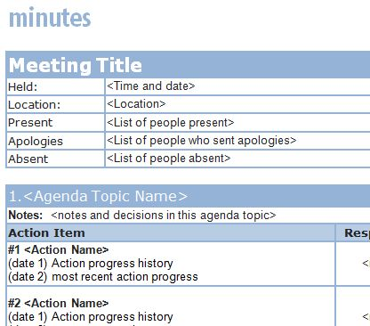 Meeting Minutes Templates - Word Excel Samples