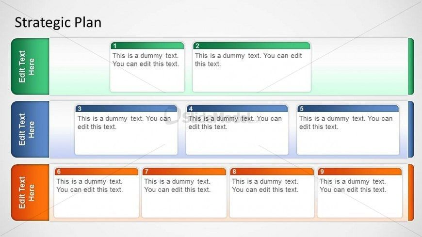 Three Horizontal Stages Strategy Board for PowerPoint - SlideModel