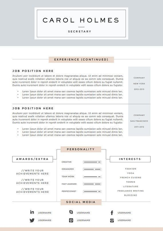 35 best cv images on Pinterest | Cv template, Resume templates and ...