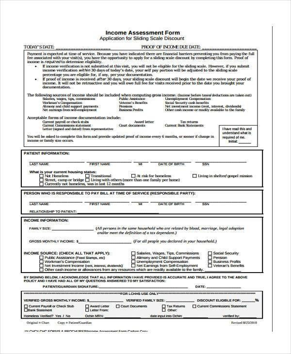 7+ Income Assessment Form Samples - Free Sample, Example Format ...