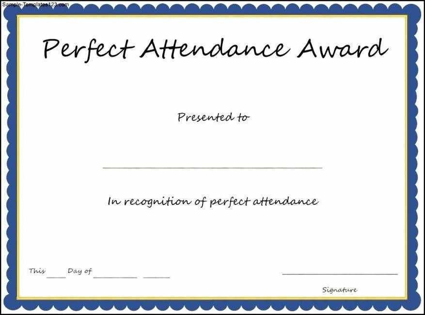 Free Perfect Attendance Certificates Template - Certificate234