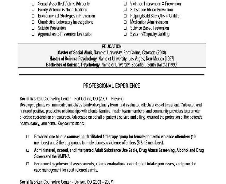Trendy Ideas Social Work Resume Examples 11 296 Best Images About ...