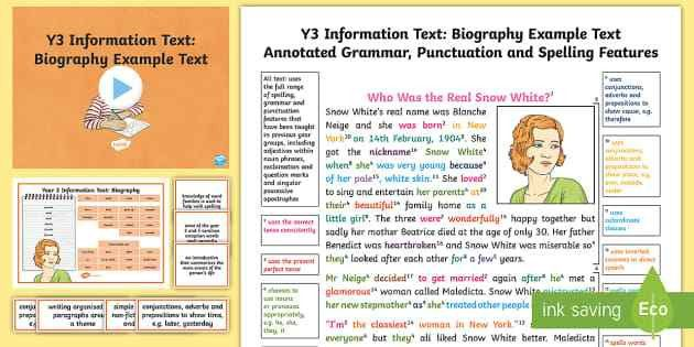 Y3 Information Texts: Biography Model/Example Text - Example
