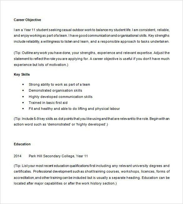 10 Resume Objective For A High School Student Resume high school ...