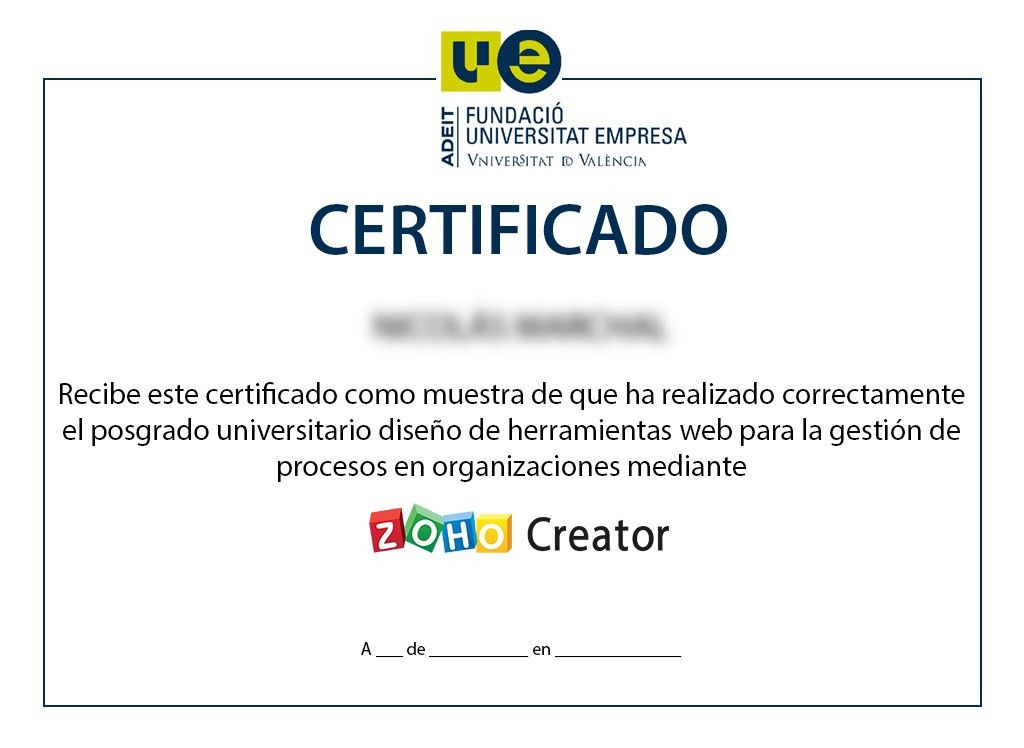Certification - Zoho Creator University Degree