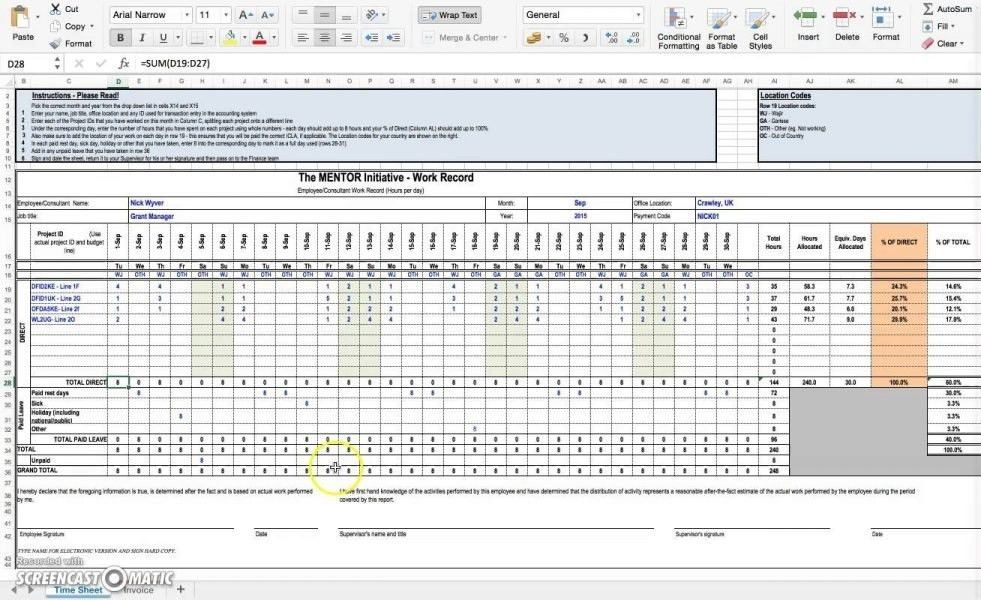 Excel Timesheet Template With Formulas | Template Idea