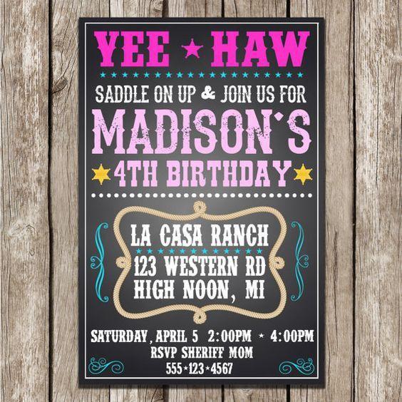 Cowgirl Birthday Invitation - Western Birthday Party Invite ...