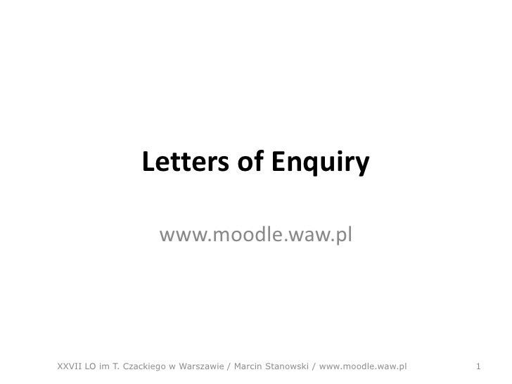 Letter of enquiry