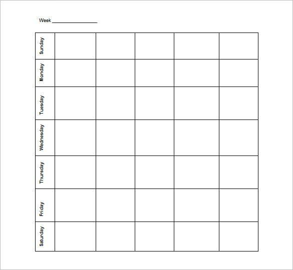 Blank Schedule Template – 13+ Free Word, Excel, PDF Format ...