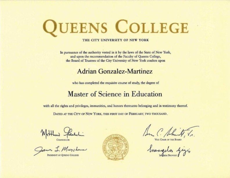 Masters' Degree in Spanish Education from Queens College