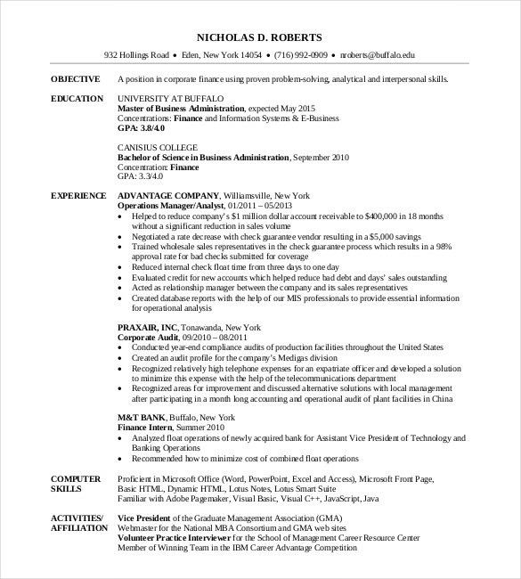 Sample Mba Resume. Finance Resume Sample Mba Template And ...