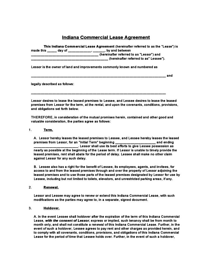 Indiana Commercial Lease Agreement Free Download