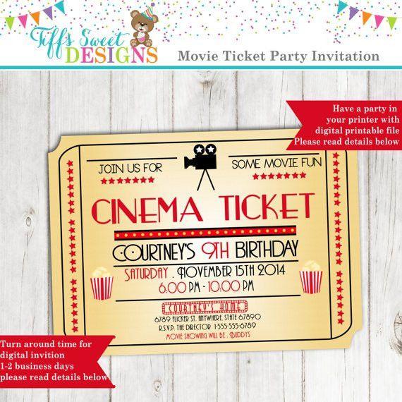 Movie Night Invitation Movie Ticket Invitation Cinema