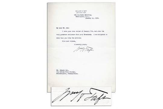 William Taft Typed Letter Signed to Editor Edward Bok ...