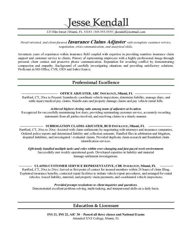 Claims Adjuster Resume Sample | Free Resumes Tips