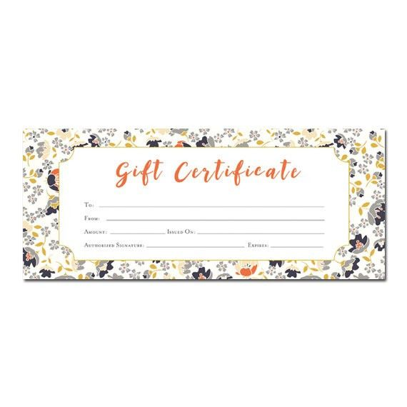 Floral print, Blank Gift Certificate, Premade, Gift Certificate ...