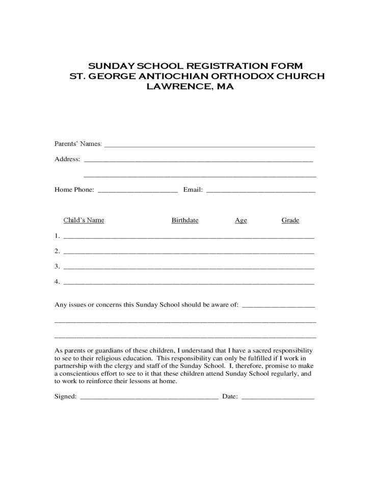 Sunday School Registration Form - St George Antiochian Orthodox ...