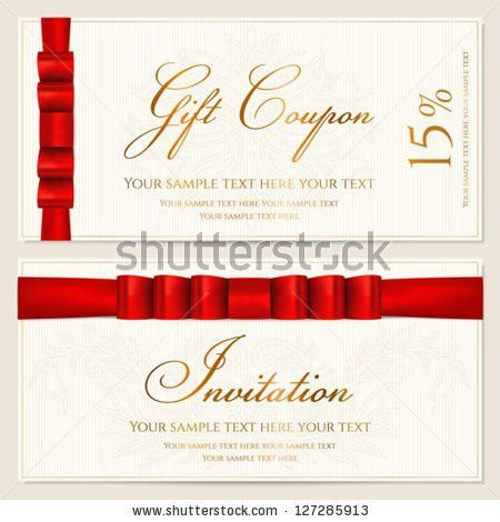 Voucher Gift Certificate Coupon Invitation Gift Stock Vector ...