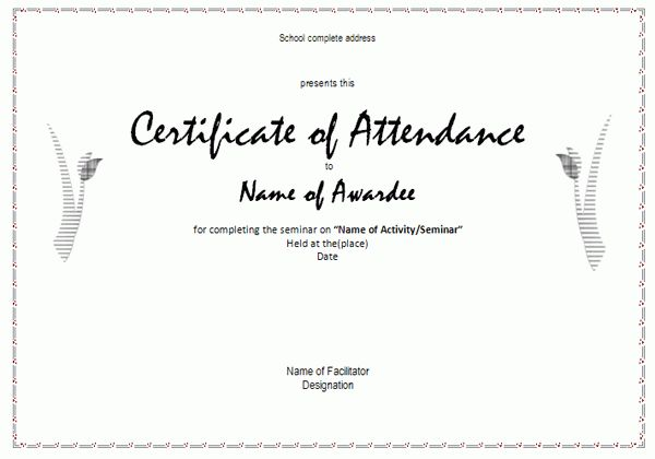 Awesome Perfect Attendance Certificate Award Template For Employee ...