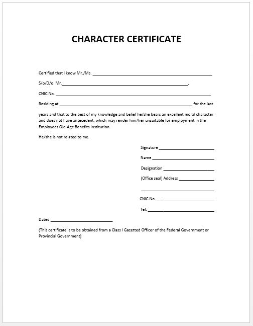 Character Certificate Template | Microsoft Word Templates