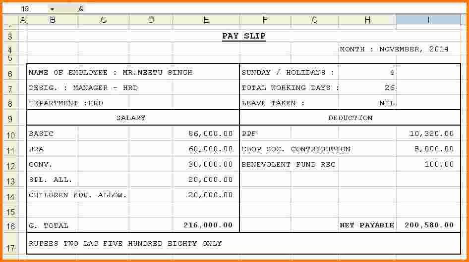3+ sample of salary slip in excel format | RSVP Slip Template