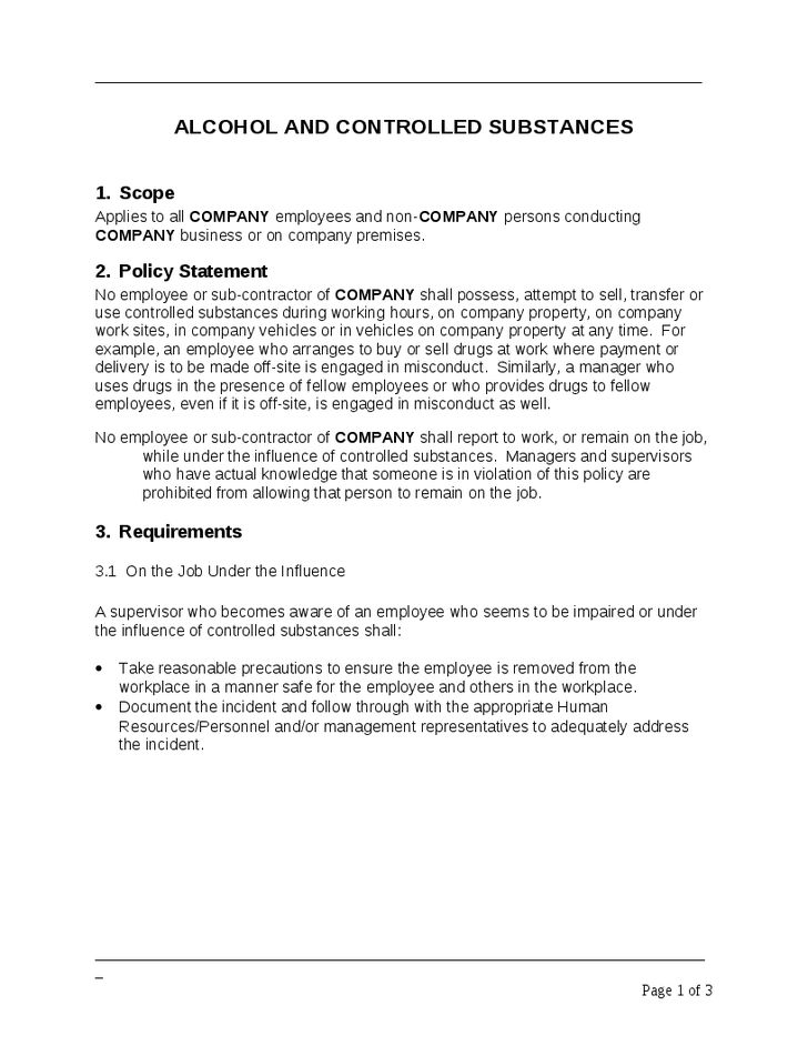 Company Policy Alcohol and Controlled Substances Template - Hashdoc