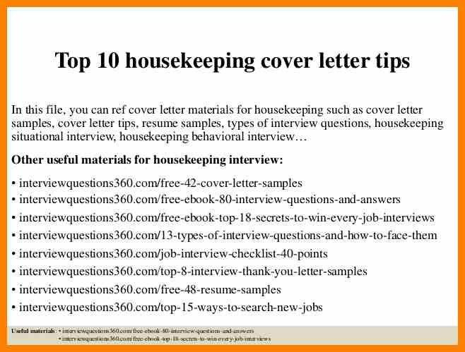 7 housekeeping coverletter character refence - Sample Housekeeper Cover Letter