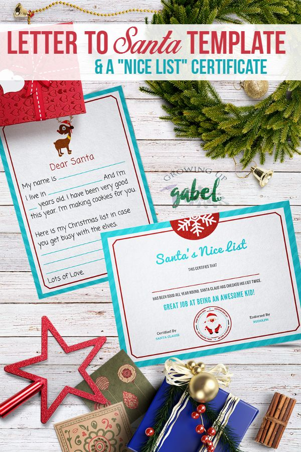 "Free Letter to Santa Template with ""Nice List"" Certificate"