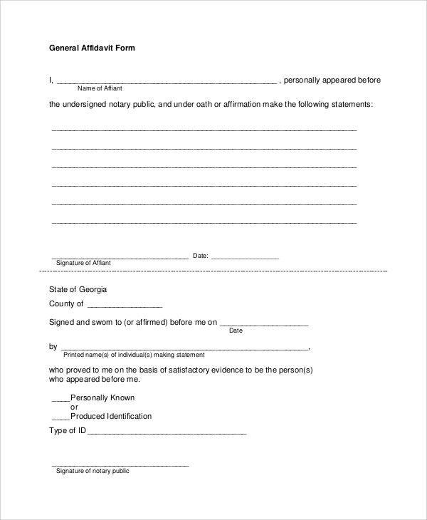 Sample Affidavit Form   8+ Examples In PDF