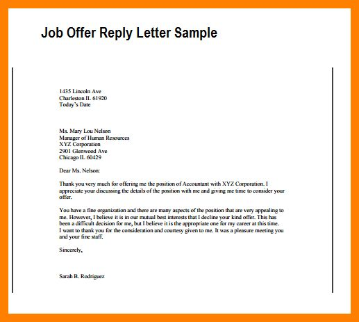how to reply to a job offer