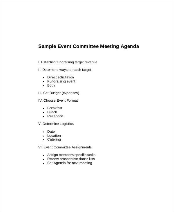 15+ Committee Meeting Agenda Templates – Free Sample, Example ...