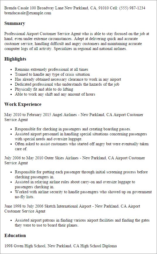 Professional Airport Customer Service Agent Templates to Showcase ...