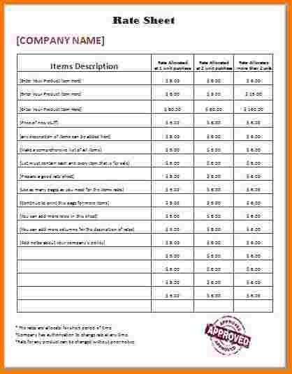 Rate Sheet Template. Wholesale Price Sheet Free Pdf Template ...