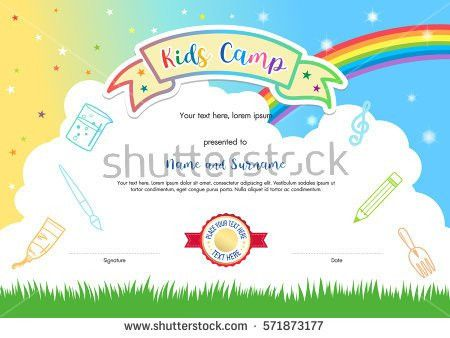 Colorful Kids Summer Camp Diploma Certificate Stock Vector ...