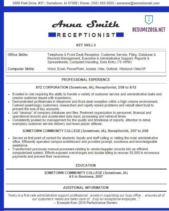 Receptionist resume examples 2016 •