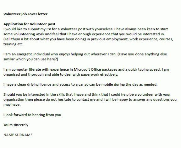 sample cover letter for volunteering