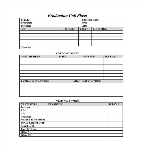 Call Sheet Template. Location Call Sheetproduction Title: Group ...