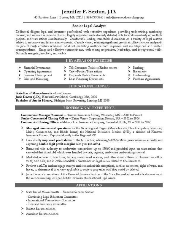 Senior Legal Analyst for Attorney Resume Sample and Key Areas Of ...