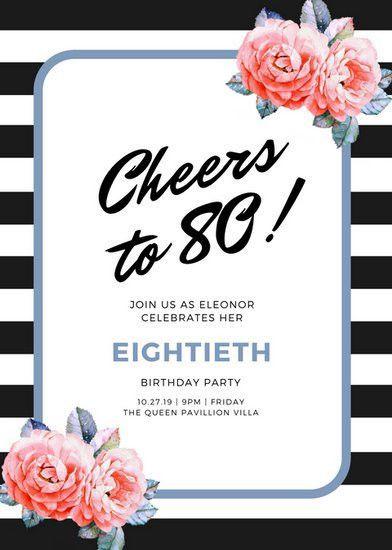 80th Birthday Invitation Templates - Canva