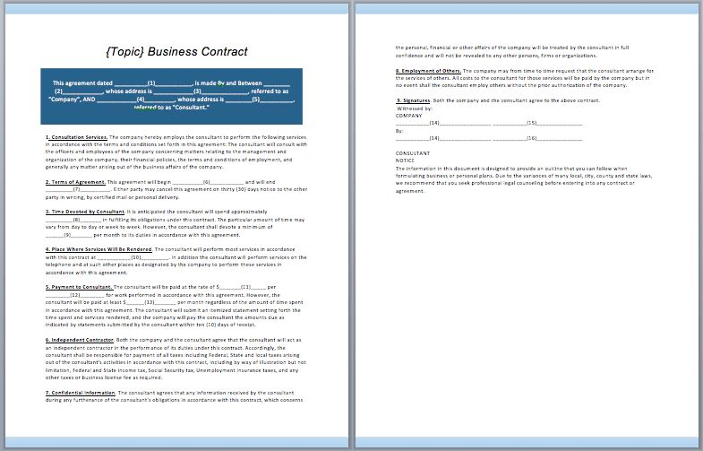 Business Contract Template – ContractGuru