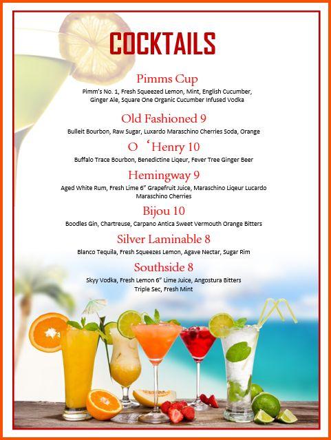 13+ cocktail menu template | Survey Template Words